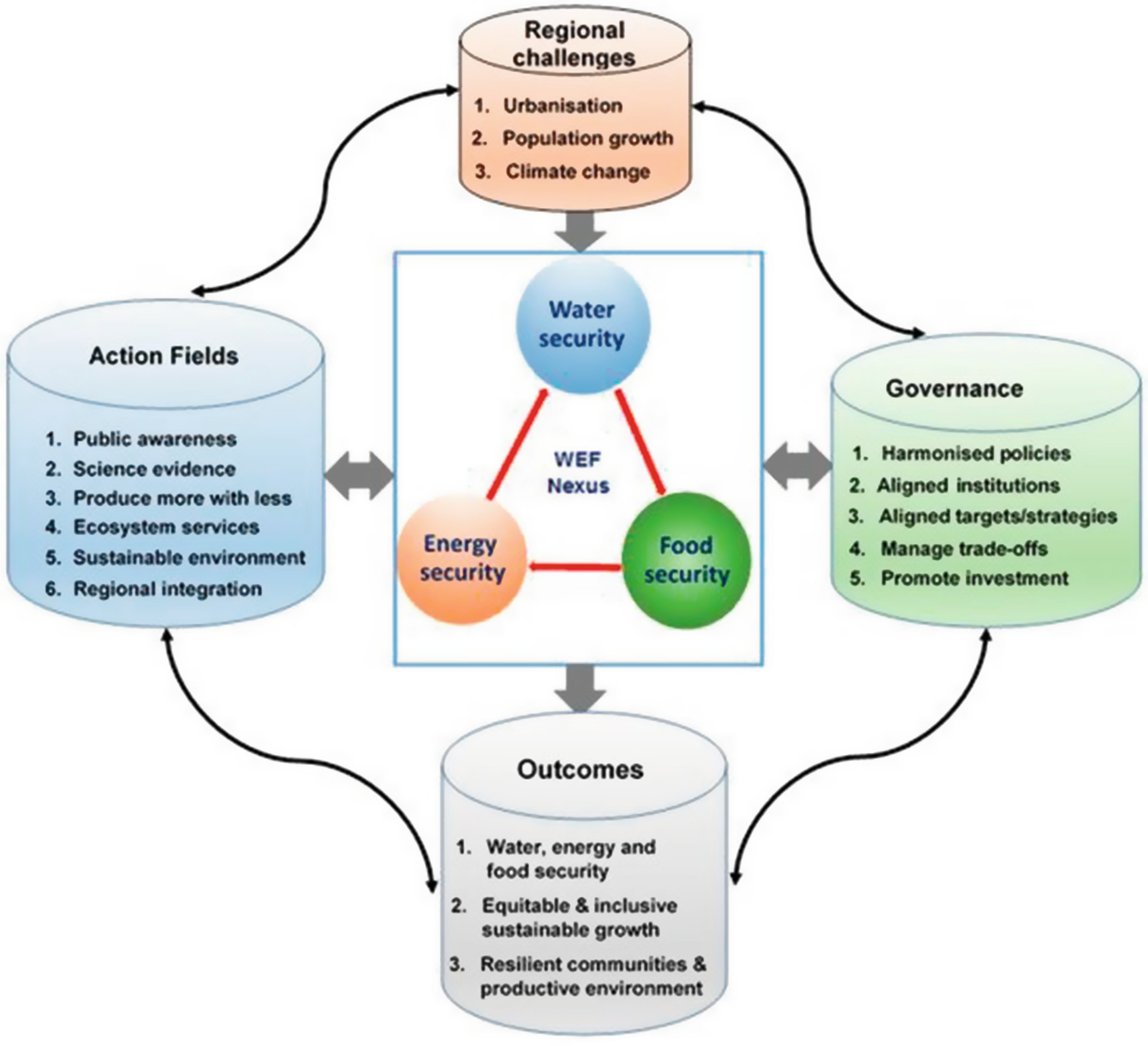 Conceptual framework of the regional water-energy-food nexus action plan. © The authors