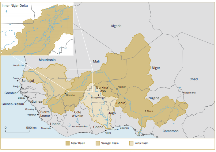 Map of major basins in Mali and map of the Inner Niger Delta Sources: Global Runoff Data Centre, 'Major River Basins of the World', 2nd edn, Federal Institute of Hydrology, 2020; and made with Natural Earth, . Credit: Hugo Ahlenius, Nordpil,